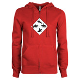 ENZA Ladies Red Fleece Full Zip Hoodie-Western IHSA Team Mark