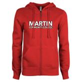 ENZA Ladies Red Fleece Full Zip Hoodie-Martin Community College