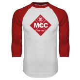 White/Red Raglan Baseball T Shirt-50 Year Mark