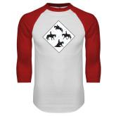 White/Red Raglan Baseball T Shirt-Western IHSA Team Mark