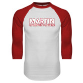 White/Red Raglan Baseball T Shirt-Martin Community College