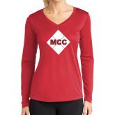 Ladies Syntrel Performance Red Longsleeve Shirt-Primary Mark