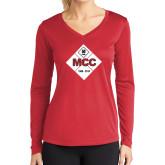 Ladies Syntrel Performance Red Longsleeve Shirt-50 Year Mark
