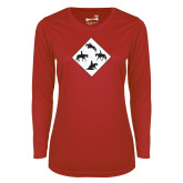 Ladies Syntrel Performance Red Longsleeve Shirt-Western IHSA Team Mark