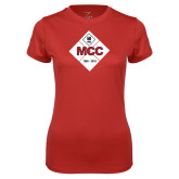 Ladies Syntrel Performance Red Tee-50 Year Mark