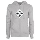 ENZA Ladies Grey Fleece Full Zip Hoodie-Western IHSA Team Mark