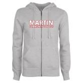 ENZA Ladies Grey Fleece Full Zip Hoodie-Martin Community College
