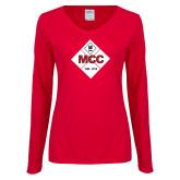 Ladies Red Long Sleeve V Neck Tee-50 Year Mark