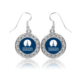 Crystal Studded Round Pendant Silver Dangle Earrings-Missional University Stacked