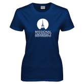 Ladies Navy T Shirt-Missional University Stacked