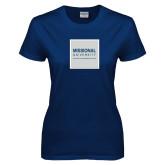 Ladies Navy T Shirt-Missional University Box Sub Text