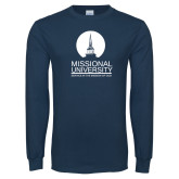 Navy Long Sleeve T Shirt-Missional University Stacked