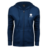 ENZA Ladies Navy Fleece Full Zip Hoodie-Missional University Stacked