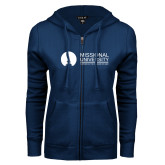 ENZA Ladies Navy Fleece Full Zip Hoodie-Primary Mark