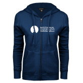 ENZA Ladies Navy Fleece Full Zip Hoodie-Missional University Flat