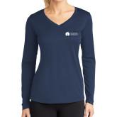 Ladies Syntrel Performance Navy Longsleeve Shirt-Missional University Flat