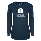 Ladies Syntrel Performance Navy Longsleeve Shirt-Missional University Stacked