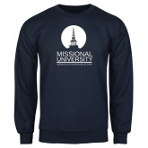 Navy Fleece Crew-Missional University Stacked