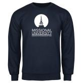Navy Fleece Crew-Missional University Stacked