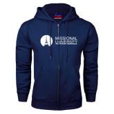 Navy Fleece Full Zip Hoodie-Missional University Flat
