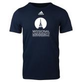 Adidas Navy Logo T Shirt-Missional University Stacked