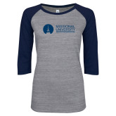 ENZA Ladies Athletic Heather/Navy Vintage Baseball Tee-Primary Mark