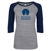 ENZA Ladies Athletic Heather/Navy Vintage Baseball Tee-Missional University Stacked