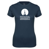 Ladies Syntrel Performance Navy Tee-Missional University Stacked