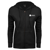 ENZA Ladies Black Fleece Full Zip Hoodie-Missional University Flat