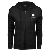 ENZA Ladies Black Fleece Full Zip Hoodie-Missional University Stacked