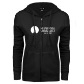 ENZA Ladies Black Fleece Full Zip Hoodie-Alumni