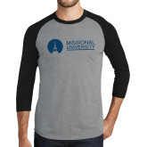 Grey/Black Tri Blend Baseball Raglan-Missional University Flat
