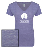 ENZA Ladies Surfer Blue Melange V Neck Tee-Missional University Stacked