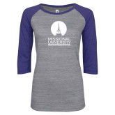 ENZA Ladies Athletic Heather/Blue Vintage Baseball Tee-Missional University Stacked