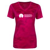 Ladies Pink Raspberry Camohex Performance Tee-Missional University Flat