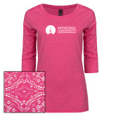 Ladies Dark Fuchsia Heather Lace 3/4 Sleeve Tee-Missional University Flat