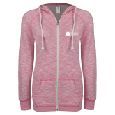 ENZA Ladies Hot Pink Marled Full Zip Hoodie-Missional University Flat