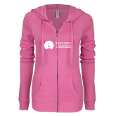 ENZA Ladies Hot Pink Light Weight Fleece Full Zip Hoodie-Missional University Flat