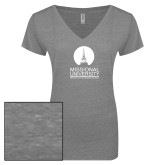 ENZA Ladies Graphite Melange V Neck Tee-Missional University Stacked
