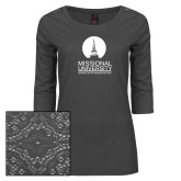 Ladies Charcoal Heather Lace 3/4 Sleeve Tee-Missional University Stacked