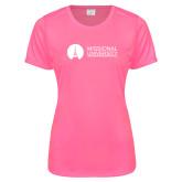 Ladies Performance Hot Pink Tee-Missional University Flat