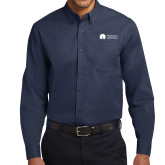 Navy Twill Button Down Long Sleeve-Missional University Flat
