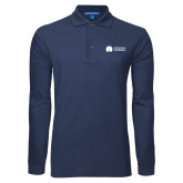 Navy Long Sleeve Polo-Missional University Flat