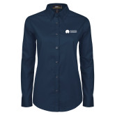 Ladies Navy Twill Button Down Long Sleeve-Missional University Flat