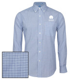 Mens Navy Plaid Pattern Long Sleeve Shirt-Missional University Stacked
