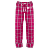 Ladies Dark Fuchsia/White Flannel Pajama Pant-Missional University Flat