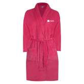 Ladies Pink Raspberry Plush Microfleece Shawl Collar Robe-Missional University Flat