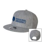 Heather Grey Wool Blend Flat Bill Snapback Hat-Missional University Flat