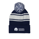Navy/White Two Tone Knit Pom Beanie with Cuff-Missional University Flat