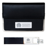 Business Card Case and Key Ring Set Black-Missional University Flat Engraved